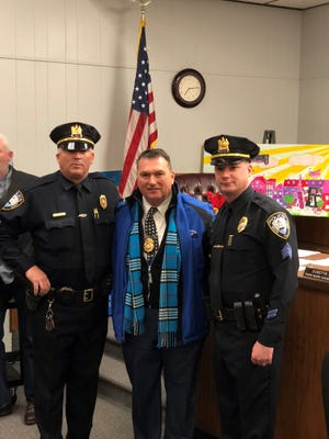 South Amboy Police Officers Michael Kelly and Dennis McQuade were promoted to sergeant last month.
