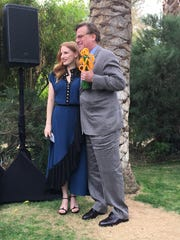 Jessica Chastain poses with Aaron Sorkin who received the Variety Creative Impact Awards for writing. (Jan. 3, 2018)
