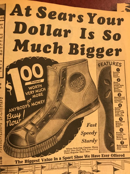 Sports shoes, 1931 Sears catalog.