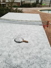 Cara Fleischer's ping pong table froze over on the day of Tallahassee's Jan. 3 morning snowfall.