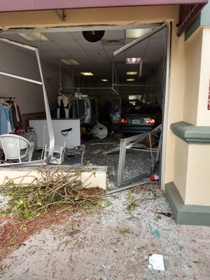 A BMW sedan drove through the storefront window at a dry cleaner shop in South Fort Myers at the intersection of Winkler and Summerlin Road on Monday afternoon.
