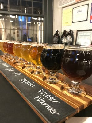 A colorful flight of beers at Silver Lake Brewing Project in Perry, Wyoming County.