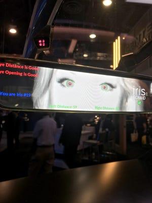 The Gentex rearview mirror scanner, scanning an iris.