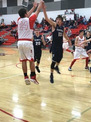 Elgin's Ethan Backensto shoots a jump shot during Tuesday's 50-33 win over Lima Temple Christian.