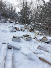 Beekeepers Justin and Tori Engelhardt arrived at the