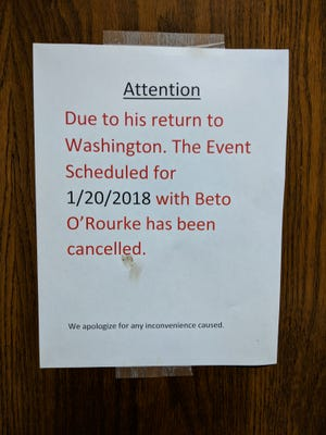 Beto O'Rourke cancelled his town hall in Midwestern State University's student center to return to Washington D.C. now that the government has been shut down.