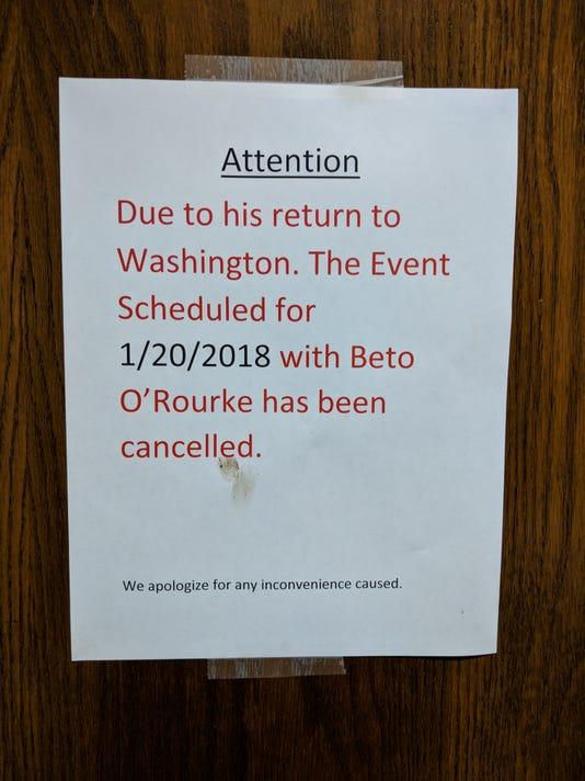 Beto O'Rourke cancel sign