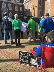 About 40 pro-life advocates demonstrated outside of Legislative Hall in Dover on Tuesday.