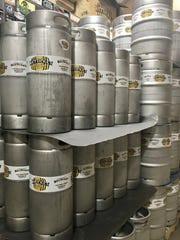 Beer barrels at Wet Ticket Brewing in Rahway.