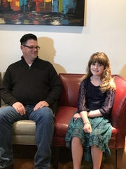 Sophia Campa-Peters, 9, of Brownfield, and her father, Scott Campa-Peters