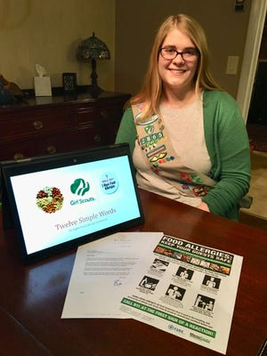 For her Girl Scout Gold Award project, Central Magnet junior Molly Gilliland is lobbying for better food service education regarding food allergies.