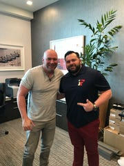 UFC president Dana White (left) and Island Fights CEO Dean Toole met again Monday in UFC Performance Institute in Las Vegas to help promote Roy Jones Jr.'s final hometown bout Feb. 8 at Island Fights 46.