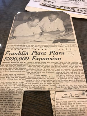 A St. Cloud Times article from August 1947 in the Stearns History Museum archives about the expansion of the Franklin Transformer manufacturing plant in St. Cloud.