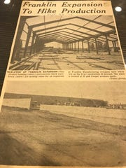 A St. Cloud Times article from September 1956 in the Stearns History Museum archives about the expansion of the Franklin Transformer manufacturing plant in St. Cloud.