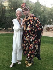 Shirley Claire poses with a friend during her 90th birthday bash at the Ace Hotel & Swim Club in Palm Springs on Jan. 11, 2018.