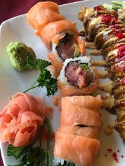 New York roll is tuna and avocado on the inside and