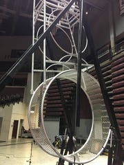 This is one of three aerial rings that will be hoisted up within JQH Arena for the circus.