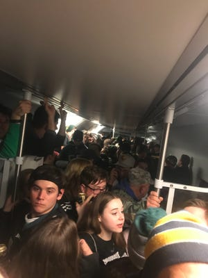 A PATCO Hi-Speedline train packed with Eagles fans broke down near Ferry Avenue late Sunday night after the Super Bowl.
