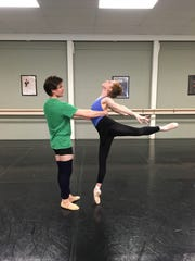 Megan Noonan and Simon Pawlak rehearse for Ballet Theatre of Indiana's Beer & Ballet IV.