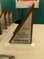 The trophies for winners of the regional 2018 MathCounts Competition.