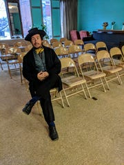 John Pagano played an abolitionist for TCHA's two-day program. He is posing at TCHA's new community center, across the street from The Long Center.