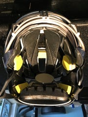 The inside of the Estero High School girls lacrosse team's Cascade LX helmet. Beginning in 2018, the FHSAA is requiring girls lacrosse players to wear the helmets.