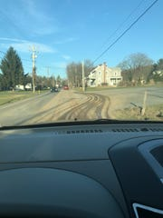 Mud caused by Atlantic Sunrise pipeline construction covers Route 241 in Lawn on Nov. 27, 2017.