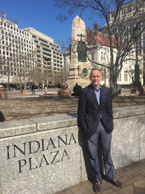 Stefan Bailey, president of the Indiana Society of Washington, stands at Washington, D.C.'s Indiana Plaza. The group wants to make the space a point of interest for visiting Hoosiers.