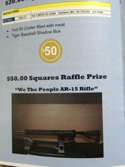 "The ""prize catalogue"" distributed at a Gun Raffle hosted by the Knights of Columbus on Feb. 10, 2018"