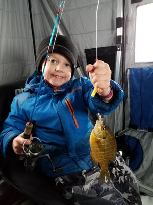 Freshwater shrimp below a bobber is a great way for young kids to have success catching panfish through the ice.
