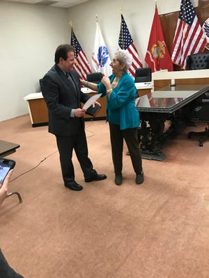 Mayor James Rotundo swore Councilwoman Yolanda Iacobino into the vacant seat on the Palisades Park council March 1.