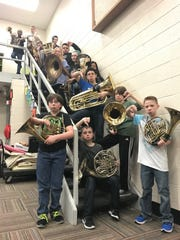 """Here are our students with our 'sad' instruments,"" said Sean Green, GMS band director. ""The GMS Foundation is helping us replace these old, nonfunctioning instruments so our band program may have the classroom technology we need. We truly could not be a great school without their help."""