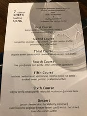 The menu comprised six courses plus hors d'oeuvres