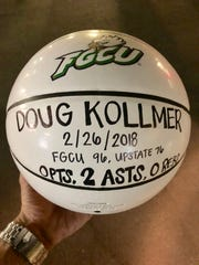 The ball presented to FGCU fan Doug Kollmer after the Atlantic Sun semifinal win on Thursday, March 1, 2018 at Alico Arena. Kollmer egged a USC Upstate player into a technical foul during Monday's quarferfinal win. The Spartans' coach also got a technical and the momentum changed a close game into a blowout for the Eagles.