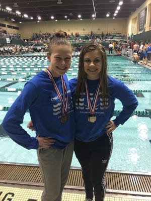 Heidi Arth (left) and Carli Frey (right) pose for a picture at the  2018 Division II Central, East and Southeast District Meet.