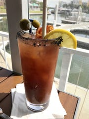 Black salt rims a Bloody Mary at Fish Tale.
