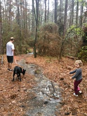 The Guidrys head down the Dogwood Trail at North Toledo Bend State Park before the rain starts again.