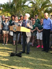 Jack Wert speaks at the Naples Zoo during a news conference