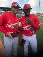 Two Palm Beach Cardinals players in the St. Louis Cardinals camp confer recently on the field at Roger Dean Chevrolet Stadium, as Major League Baseball's spring season has begun in Jupiter's Abacoa community. Meanwhile, the Palm Beach Cardinals look forward to another successful season soon. Pictured at right is Randy Arozarena.