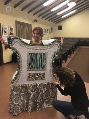 """Hannah Cunningham has her costume fitted for the Villanova Preparatory School's production of """"Beauty and the Beast,"""" on stage April 19-22."""