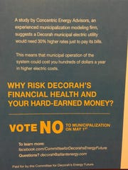 A postcard Alliant Energy sent to Decorah residents,