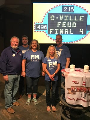 F&M Bank team members are all smiles after their victory in The Pinnacles inaugural Family Feud challenge.  Pictured are (from left) Sammy Stuard, Newson Boehms, Sally Lee, Stacey Streetman and Mike Zenker.