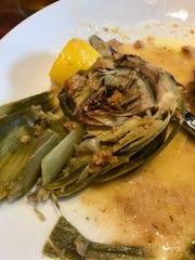 Artichoke, choke still intact, at Bella Vita Grill.