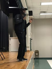 Motivational speaker Larrese Rollins told the students at Cypress Point University Elementary to be prepared for the LEAP test.