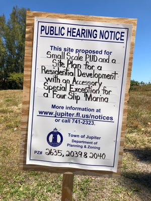 Residential development notices, like this one in Jupiter, should prompt residents to attend Jupiter Town Council meetings to voice their approval or opposition. The next meeting is 7 p.m. April 17 at Town Hall, 210 Military Trail in Jupiter.