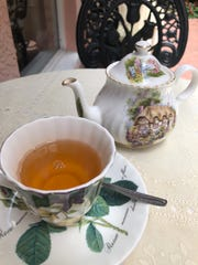Royal wedding tea is served in the garden outside Brambles English Tea Room and Gift Shop off Fifth Avenue in downtown Naples.