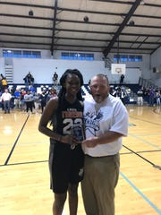 Tashara Clay of OHS was the girls 3-point shooting winner Friday at the All-Star Basketball Showcase.