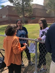 Ann Bley of the Virgin Valley Action Group speaks to Virgin Valley High School students about gun control during the National School Walkout on April 20