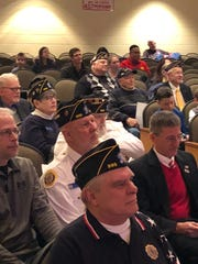 "Members of Pittsford's Rayson-Miller American Legion Post 899 in the audience during the ceremony in March when Toni Stevens-Oliver's fourth grade class presented them with a bound copy of their book, ""Veterans' Voices."""