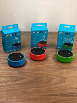 Echo Dot Kids Edition comes in blue, red and green.